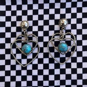 Vintage Turquoise Silver Heart Earrings